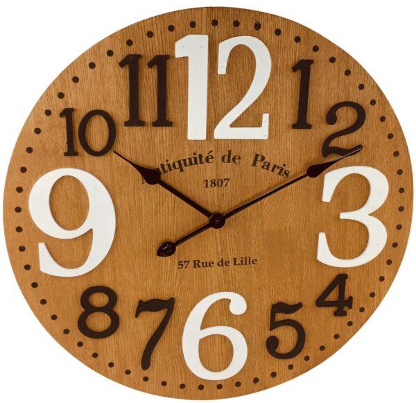 Wooden Embossed Number Clock 60cm