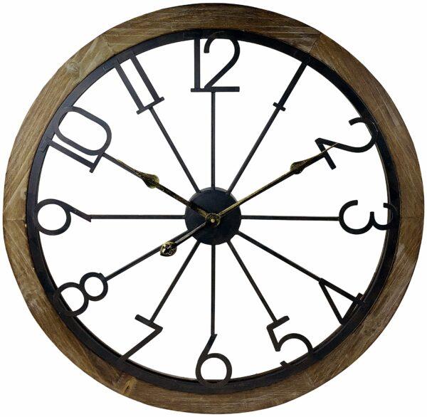 Wooden Trim & Metal Numbers Clock 68cm