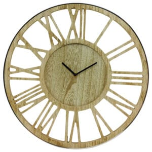Wooden Silver Clock 40cm