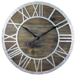 Wooden Roman Numeral Clock with Zink Numbers 40cm