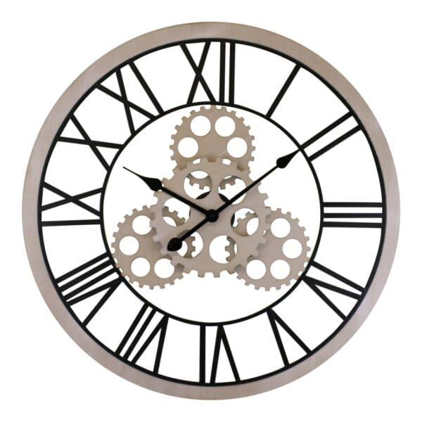 Large Wood Effect Gear Clock 70cm