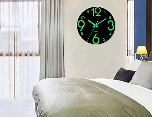 Topkey 12 Inch Luminous Wall Clock Silent Wooden Design Night Lights Round Wall Clock for Living Room and Bedroom (Battery Not Included) - Brown