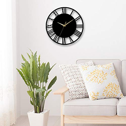 Warmiehomy 30cm Round Wall Clock Vintage Roman Numeral Silent Non-ticking Hanging Clock for Home Garden Office Cafe Decoration, Black, Gold Pointer