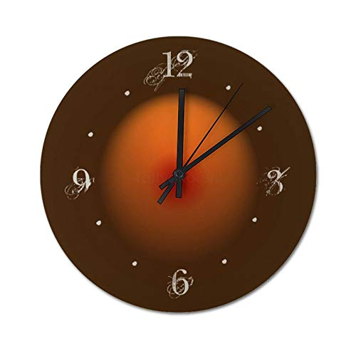 Pealrich Rustic Country Burning Orange Brown Lighting Design Wooden Wall Clock Silent & Non-Ticking Decor Round Wall Clock, Easy to Read, 30 x 30 CM