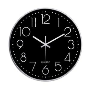 Foxtop Silent Non-Ticking Quality Quartz Round Battery Operated Wall Clock Easy to Read for Home Office School (12 inch/ 30 cm, Silver Frame Black Dial)