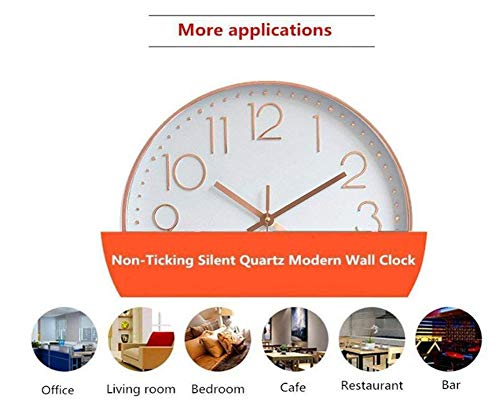 October Elf Silent Wall Clock 12 Inch Non Ticking Clock Quartz Battery Operated Round For Living Room Bedrooms Office Kitchens Class Room (Black-Silver)