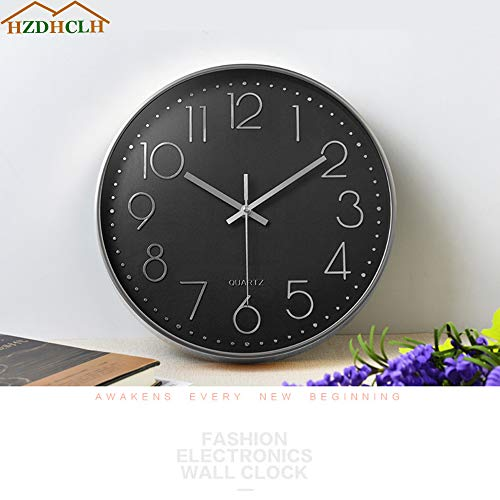 HZDHCLH Wall Clock 12 Inch Silent Non Ticking Clock for Living Room Bedroom Kitchen Office (Black-Silver)