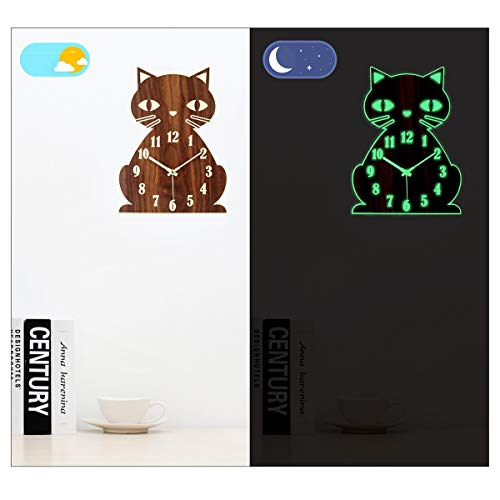 Topkey Luminous Non ticking Silent Wall Clock Animal Design Clock for Child, Battery Operated (Not Included) – Cute Cat