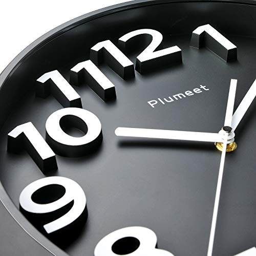 Plumeet 13'' Large Wall Clock, Non-Ticking Silent Quartz Decorative Clocks, Modern Style Good for Home Kitchen Living Room Bedroom Office, Big 3D Number Display, Battery Operated (Black)