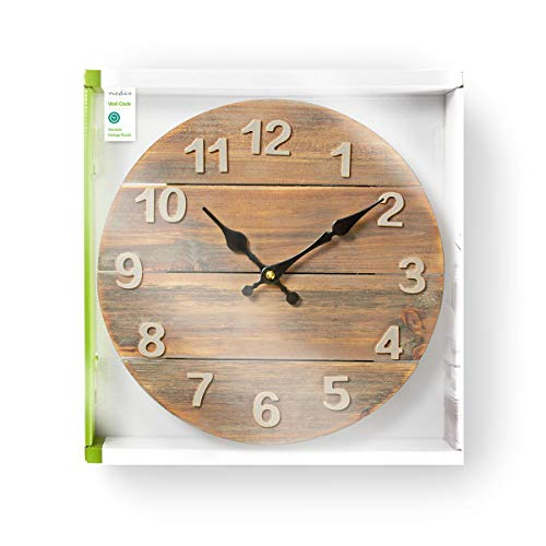 NEDIS Large Wall Clock for Livingroom, Kitchen or Bedroom, Wooden Diameter 30 cm Analogue Ticking Wall Clock