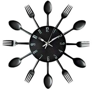 Timelike 3D Removable Modern Creative Cutlery Kitchen Spoon Fork Wall Clock Mirror Wall Decal Wall Sticker Room Home Decoration (Black)