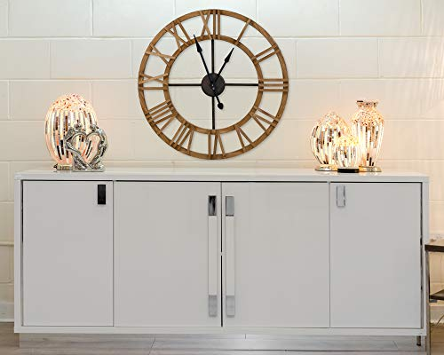 EXCLUSIVE BROWN WOODEN NUMERAL WALL CLOCK, 90cm