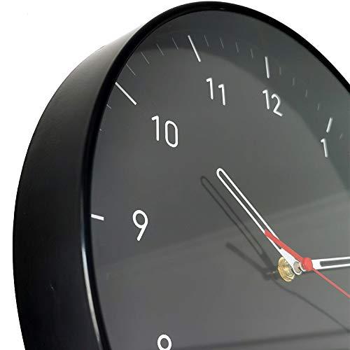 WristArt Wall Clocks Battery Operated Non Ticking - 12 Inch Completely Silent Analog Quartz Office Wall Clock - Modern Design Wall Clock for School, office, livingroom Clock(black)