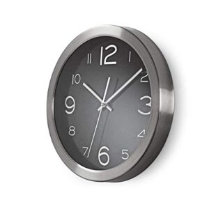 Invero Stylish Circular Black Wall Clock Finished with Brushed Steel Edge - Quartz Movement for Precision and Accuracy - 30 cm Diameter
