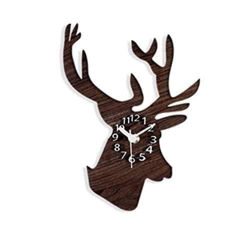 WINOMO Silent Wall Clock Cool Rural Wooden Deer Head Clock Wall Decoration Gift (Brown)