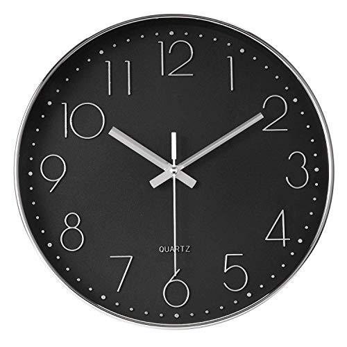 Elegance by Casa Chic - Wall Clock - 12 inches (30 cm) Diameter – Silent Quartz Mechanism - Black & Silver