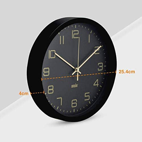 ANSIO Wall Clocks 10 inch/25.4cm For Living Room Modern, Large Wall Clock Ideal for Bedrooms, Kitchen, Office, Bathroom - Black Frame and Gold Numbers, Silent Wall Clock