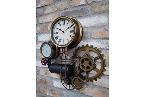Casadomu Steampunk Clock Industrial Pipe Wall Hanging Large Rustic Cogs Decor Timepiece