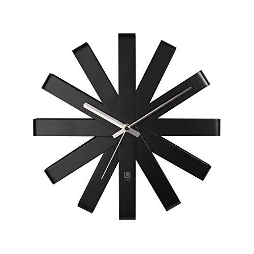 Umbra Ribbon Wall Clock Black, Metal 30.5 x 30.5 x 5.7 cm
