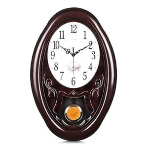 "Lafocuse Mahogany Color Large Pendulum Wall Clock Traditional Retro Brown Silent Grandfather Quartz Clocks for Living Room Bedrooms 22""*14"""