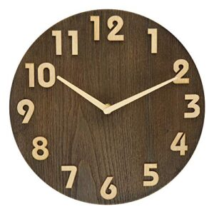 BECANOE Wooden Wall Clocks 12 Inch Silent Non-Ticking Large 3D stereo Number Home/Kitchen/Office/School Clock Easy to Read Brown