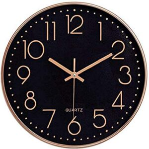 Foxtop Black Wall Clock Silent Non-Ticking Arabic Numeral Clock Round Decorative Clock for Living Room, Bedroom, Kitchen, Office (25 cm)