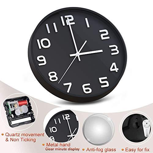 Wall Clock 12 Inch Large Number 3D Silent Quartz Decorative Clocks Modern Round Clocks for Home Bedroom Kitchen School Office Black