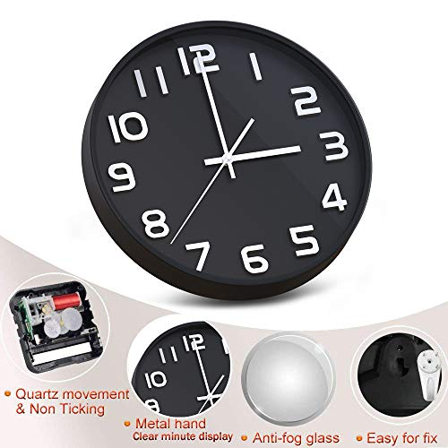 """Wall Clock 12"""" Silent Non-Ticking Quartz Decorative Wall Clock 3D Large Number, Modern Style Good for Living Room & Home & Office Battery Operated(black)"""