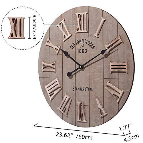 Abaseen Big oversize Kitchen Living Room Bedroom 24 inch Wall Clocks With Mechanical Moving Gears Skeleton Roman 3D Numbers 60 cm (Wood style)