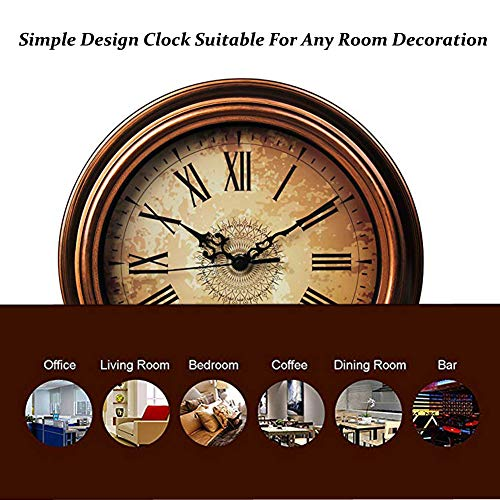 Topkey 12 Inch Wall Clock Silent Non-ticking Vintage Arabic Numerals Round Wall Clocks for Living Room Kitchen Bedroom Home Office (Battery Not Included) - Brown