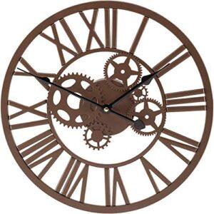 HomeZone® Large 35cm Modern Roman Numeral Indoor Outdoor Clock Brown Clock Face Large Wall Clock Skeleton Metal Retro Cog Design Garden Battery Operated Wall Clock Home Garden Decorative Waterproof