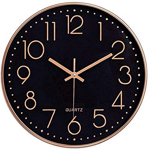 """Foxtop Modern Wall Clock 12"""" Silent Non-Ticking Arabic Numeral Clock Round Decorative Wall Clock for Living Room, Bedroom, Kitchen(30 cm, Black Dial, Rose Gold Frame)"""