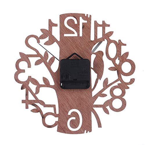 Cerolopy Tree-Shaped Wall Clock Creative and Simple Wooden Wall Clock (without Batteries) Used in Kitchen Home Office Bedroom Living Room(Tree)