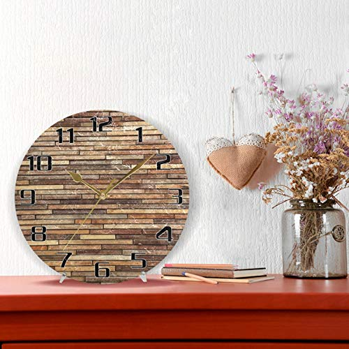 HMZXZ 9.5 Inch Wall Clock Abstract Vintage Wooden Brown Silent Non Ticking Round Clock for Home Living Room Kitchen Office School Decor