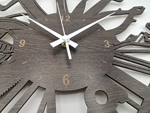 INSTANT KARMA CLOCKS Wall Clock Carpenter Artist Masonry Plumber Mechanic Garage Tools, HDF Wood Dark Brown, 16''x16''