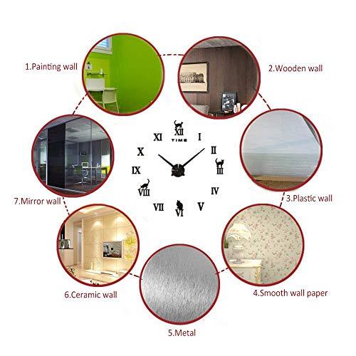 Topkey DIY Wall Clock Large Big Mute Silent 3D Modern Frameless Roman Wall Clock Cat Sticker Decoration For Home Office - Black