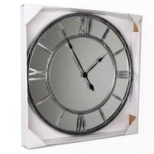 Four Seasons- Clock Mirrored Grey Extra Large Wall Clock Black Grey Silver Pewter Metal Mirrored Wall Clock