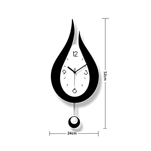 AIMU Acrylic Decorative Wall Clock - 20.4 inch Large Silent Modern Decoration Wall Clock with Pendulum Arabic Numerals Water Drop Battery Operation for Home Living Room Bedroom