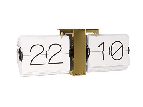 Karlsson Flip Clock No Case White, Brass Stand, Steel, 8.5 x 36 x 14 cm