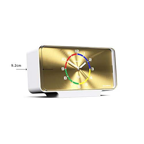NEWGATE ® Planet Modern Mantel Clock Perfect for the Living Room, Bedroom or Study 16.5 x 30 x 9.2cm (White & Gold)