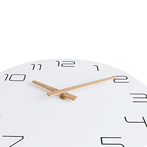 Foxtop Round Stylish Modern Wall Clock Wooden Pointers Non-ticking Silent Clocks for Home Decor Living Room Kitchen Bedroom Office School