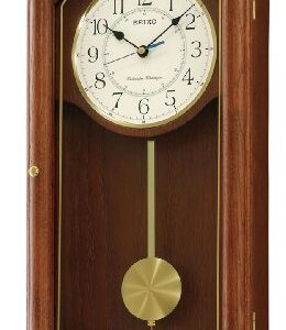 Seiko QXH039B Oak Wooden Quartz Battery Wall Clock with Pendulum and Westminster Chime, Volume Control