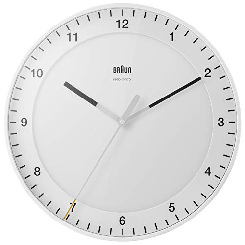 Braun Classic Radio Controlled Large Analogue Wall Clock For Central European Time Zone (DCF/GMT+1) with Silent Sweep Movement, Easy To Read, 30cm Diameter in White, model BC17W-DCF.