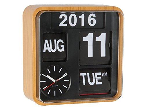 Karlsson Flip Calendar Wall Clock Bamboo Wood Mini Flip