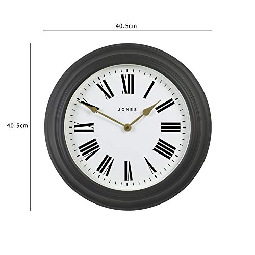 Jones Clocks® Large Wall Clock - The Cocktail Clock With Roman Numerals - Classic Design Perfect for Home/Kitchen/Living Room 40cm (Grey/Cream)