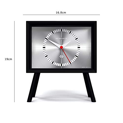NEWGATE Henry Mantel Clock Black with No-Tick Silent Sweep Movement (Silver)
