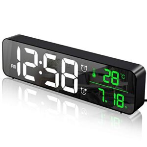 MOSUO Alarm Clock Digital Large LED Display with Temperature & Date Calendar, Bedside Clock Wall Clock Mirror with 40 Music 2 Alarms 6 Levels Adjustable Brightness 4 Volume, USB Charge, Black