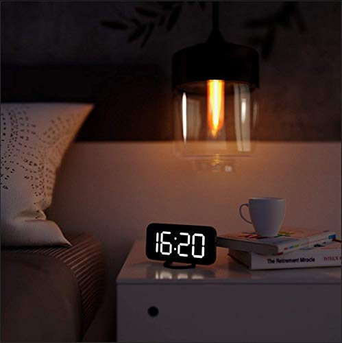 """LED Digital Alarm Clock,Portable LED Mirror Alarm Clocks with 2 USB port,6.5"""" LED Display with 3 Dimming Mode,Snooze Function for Travel,Bedroom,Office Best Festival Gift"""
