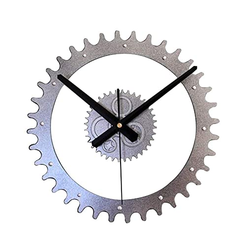 NZDY Creative Gear Shape Metal Wall Clock Steampunk Style Indoor Decorative 3D Pendulum Clock 12 inch Diameter Personality Wall Clock Living Room Mute Clock