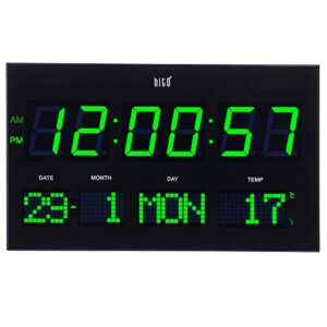 """HITO 14.2"""" Extra Large Modern LED Wall Clock w/Date Day Indoor Temperature Adjustable Brightness Decorative for Living Room Office Conference Room Bedroom (Green)"""